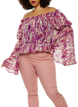 Plus Size Printed Off the Shoulder Top - 0803074280303