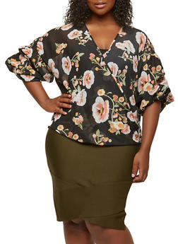 Plus Size Floral Faux Wrap Top - 0803074280357
