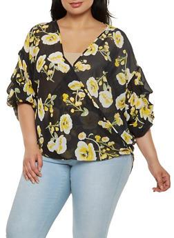 Plus Size Floral Faux Wrap Top - 0803074280357