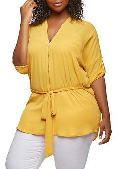 Plus Size Zipper Detail Tunic Top - 0803074280358