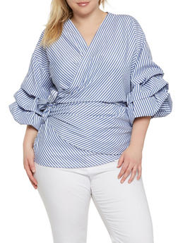 Plus Size Striped Wrap Top - 0803074280369