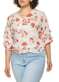 Plus Size Floral Wrap Top - 0803074280372