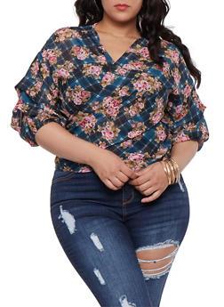 Plus Size Plaid Floral Wrap Top - 0803074280373