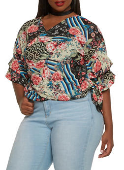 Plus Size Printed Chiffon Wrap Top - 0803074280374