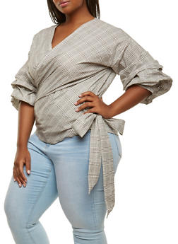 Plus Size Printed Bubble Sleeve Wrap Top - 0803074280375