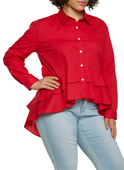 Plus Size Tiered High Low Shirt - 0803074280379