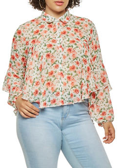 Plus Size Tiered Floral Shirt - 0803074280438