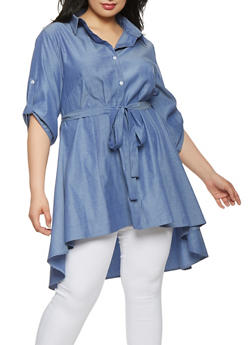 Plus Size High Low Chambray Top - 0803074280439