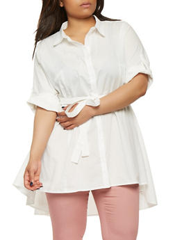 Plus Size Belted High Low Shirt - 0803074280440