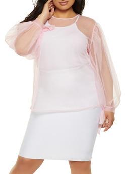 Plus Size Mesh Tie Sleeve Top - 0803074282607