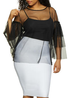 Plus Size Tulle Tiered Sleeve Top - 0803074282608