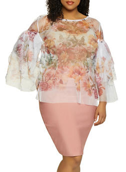Plus Size Floral Tiered Bell Sleeve Mesh Top - 0803074282609