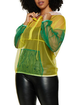 Plus Size Color Block Hooded Mesh Top - 0803074282610