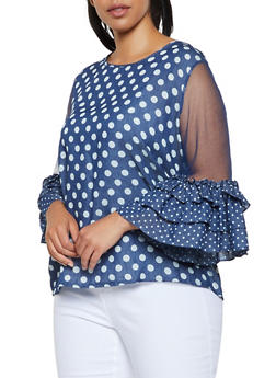 Plus Size Mesh Sleeve Polka Dot Top - 0803074730032