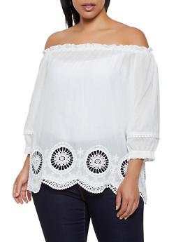 Plus Size Off the Shoulder Crochet Eyelet Hem Top - 0803074730072