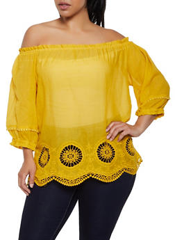 Plus Size Off the Shoulder Crochet Eyelet Hem Top - 0803074730072