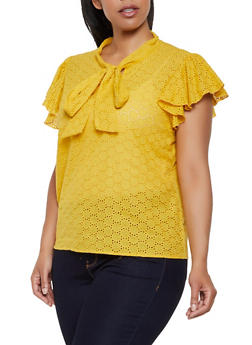 Plus Size Eyelet Tie Neck Top - 0803074730094