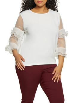 Plus Size Mesh Ruffle Sleeve Top - 0803074731065