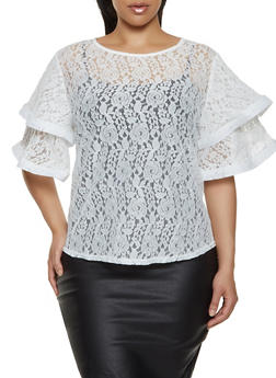 Plus Size Lace Tiered Sleeve Top - 0803074731310