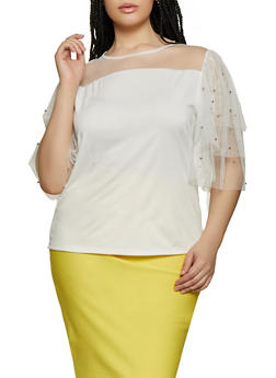 Plus Size Womens Mesh Sleeve Top