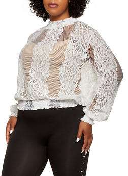 Plus Size Smocked Lace Top - 0803074733120