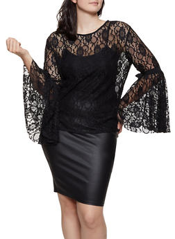 Plus Size Lace Tie Bell Sleeve Top - 0803074733145