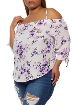 Plus Size Floral Tie Sleeve Cold Shoulder Top - 0803075841373
