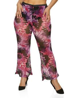 Plus Size Printed Fishnet Pants - 0850038341712