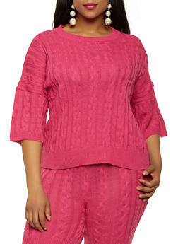 Plus Size Cable Knit Sweater - 0850062121232
