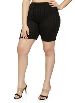 Plus Size Cable Knit Bike Shorts - 0850062121233