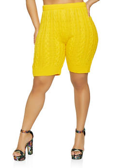 Plus Size Cable Knit Bike Shorts - 0850062121233