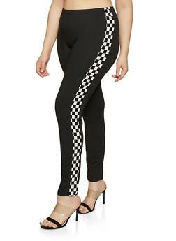 Plus Size Checkered Detail Leggings - 0850062121701