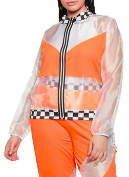 Plus Size Checkered Trim Organza Track Jacket - 0850062122800