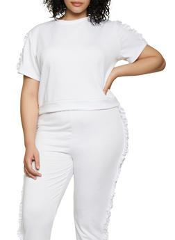 Plus Size Ruffle Sleeve Sweatshirt - 0850062124392
