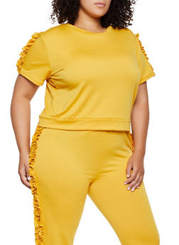 Plus Size Ruffle Sleeve Sweatshirt - 0850062124392