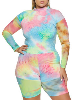 Plus Size Top Tie Dye Long Sleeve - 0850062126888