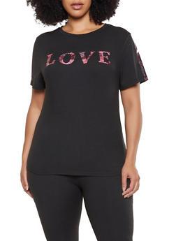 Plus Size Love Foil Graphic Tee - 0850062128839