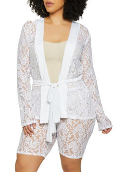 Plus Size Tie Waist Lace Cardigan - 0850062128947