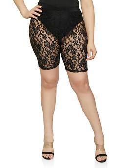Plus Size Lace Bike Shorts - 0850062128948