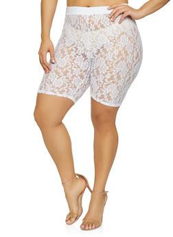 Plus Size Lace Bike Shorts - White - Size 1X - 0850062128948