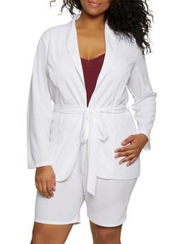 Plus Size Belted Crepe Knit Blazer - 0850062129118