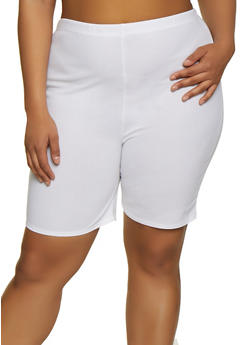 Plus Size Crepe Knit Bike Shorts - 0850062129180