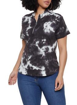 Plus Size Tie Dye Zip Neck Top - 0850074019206