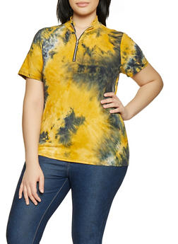 Plus Size Tie Dye Zip Neck Top - 0850074019206