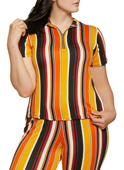 Plus Size Collared Zip Neck Striped Top - 0850074019208