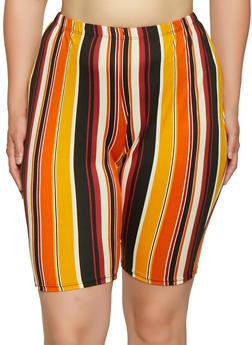 Plus Size Striped Bike Shorts - 0850074019209