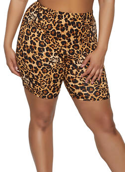 Plus Size Leopard Bike Shorts - 0850074019211