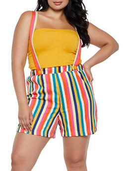 Plus Size Striped Suspender Shorts - 0860020622708