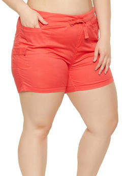 Plus Size Solid Cargo Shorts - 0860038340277
