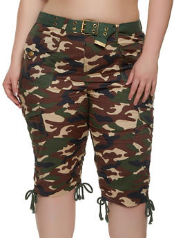 Plus Size Belted Camo Cargo Bermuda Shorts - 0860038342922